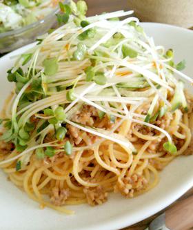 簡単☆豚ひき肉のピリ辛パスタ