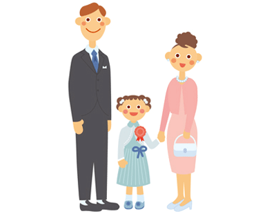 七五三の家族イラスト