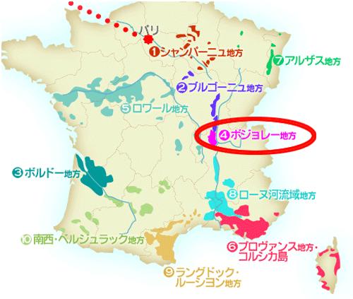 ボジョレー地方の地図