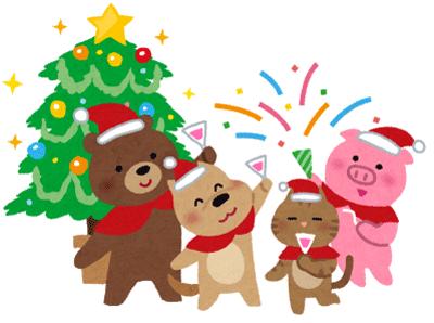 クリスマスと動物のイラスト