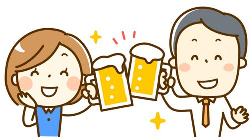 二人で乾杯するイラスト
