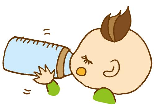 赤ちゃんと哺乳瓶のイラスト