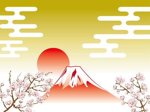桜と富士山のイラスト