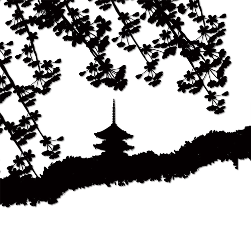 白黒のしだれ桜
