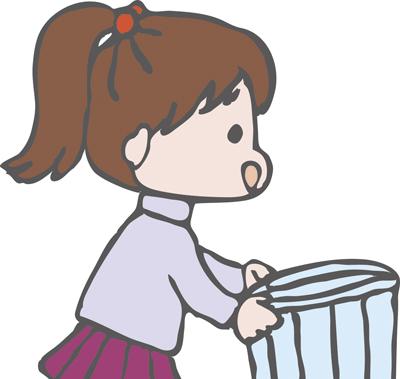 ゴミ箱と女の子のイラスト