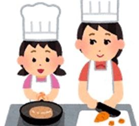 料理をお手伝いする女の子のイラスト