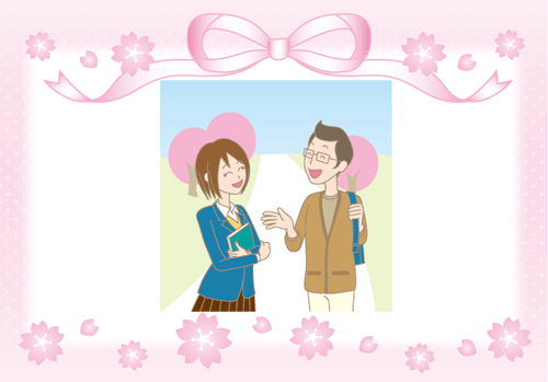 花見デートのイラスト