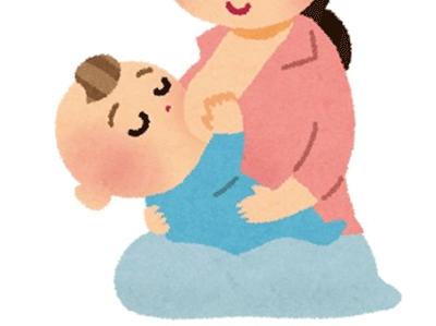 授乳中の赤ちゃんのイラスト