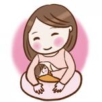幸せそうに母乳をあげるママのイラスト